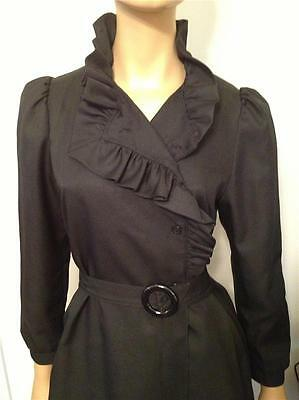 Vintage Black Double Breasted Puff Shoulder Lined Ruffled Coat - Size Medium
