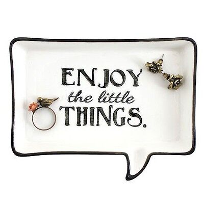 Enjoy The Little Things Quote Trinket Jewellery Ring Tray Dish Shabby Chic