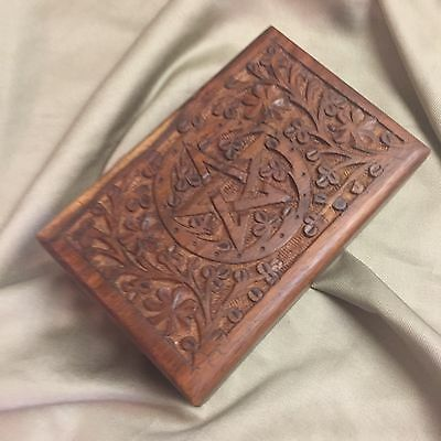 HAND CARVED WOOD PENTACLE TAROT CARDS / WICCA PAGAN RITUAL / TRINKET BOX