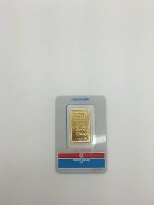24K Fine Gold Ingot Credit Suisse 2.5 Grams Fine Gold Bar 999.9 With Certificate