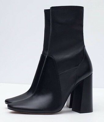 Zara Marant Black Leather Block Heel Sock Ankle Boots 3 36