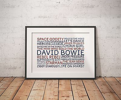 David Bowie Typography Tribute Art Print Lyrics Poster Rebel Ziggy Heroes Mars