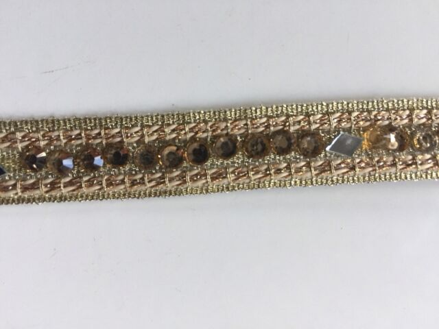 ATTRACTIVE INDIAN SLIM ROSE GOLD CRYSTAL AND MIRRORS LACE TRIM - SOLD by METRE