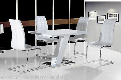 CONTEMPORARY WHITE HIGH GLOSS DINING TABLE WITH SILVER BASE AND 4x WHITE CHAIRS