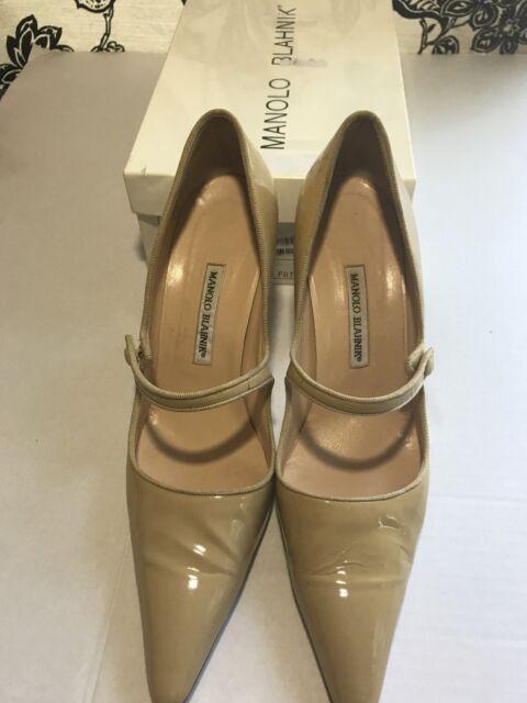 Manolo Blahnik Campari 90 Mary Jane Nude Beige Flesh Patent Shoes Size 42