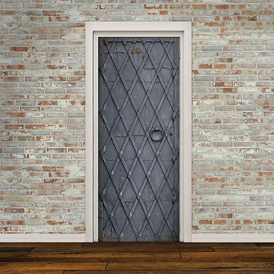 Door Decal Self Adhesive Vinyl Sticker - Medieval Iron Door Wrap