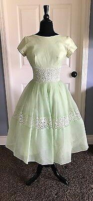 Vintage 1950's PARTY DRESS Chiffon & Lace Full Skirt Sz 11 EXCELLENT CONDITION!