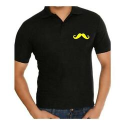 Fathers day gifts,Handlebar Moustache Polo Collar neck cotton t shirt for men