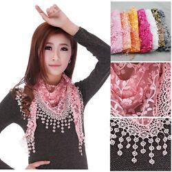 Trendy Stylish Sweet Soft Lace Triangle Wrap Shawl Chiffon Scarf Long Stole