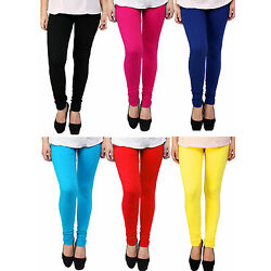 Combo pack of 6 Leggings for women - Cotton Lycra Free size